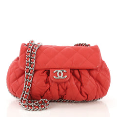 Chanel Chain Around Flap Bag Quilted Leather Medium Red 4090014