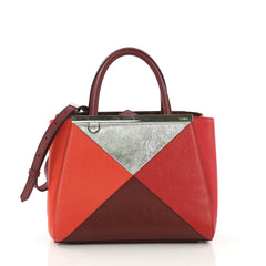 Fendi Multicolor 2Jours Handbag Leather Petite Red 4090052