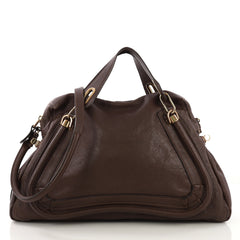 Chloe Paraty Top Handle Bag Leather Large Brown 4090112