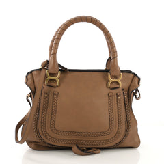 Chloe Marcie Braided Satchel Leather Medium Brown 409118