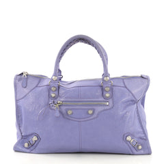 Balenciaga Work Giant Studs Bag Leather Purple 409152