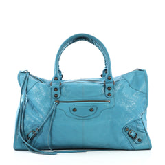 Balenciaga Work Classic Studs Bag Leather Blue 409153