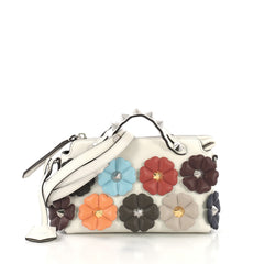 Fendi By The Way Satchel Floral Embellished Leather Mini 409181