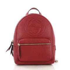 Gucci Soho Chain Backpack Leather Red 409271