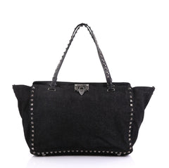 Valentino Rockstud Tote Denim Medium Black 409301