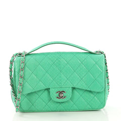 Easy Carry Flap Bag Quilted Snakeskin Medium