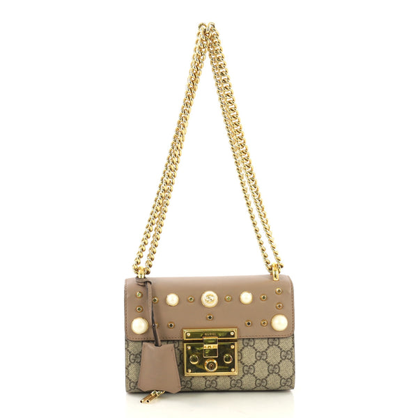 6b92bf1ce3b Gucci Pearly Padlock Shoulder Bag GG Coated Canvas with 409943 – Rebag