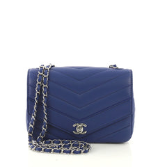 Chanel Data Center Envelope Flap Bag Chevron Caviar Medium Blue 41010101