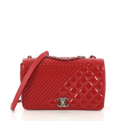 Chanel Coco Boy Flap Bag Quilted Patent Medium Red 41010106