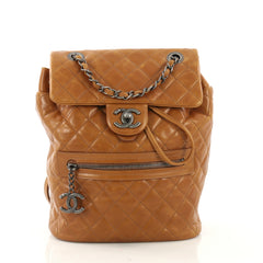 Chanel Mountain Backpack Quilted Glazed Calfskin Small Brown 41010108