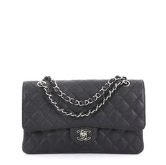 Chanel Model: Classic Double Flap Bag Quilted Caviar Medium  Black 41010/111