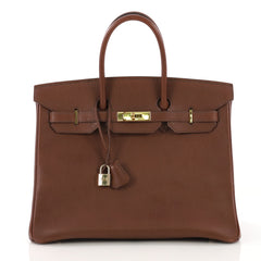 Hermes Birkin Handbag Brown Ardennes with Gold Hardware 35 - Rebag