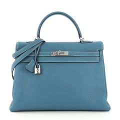 Hermes Kelly Handbag Blue Togo with Palladium Hardware 35 - Rebag