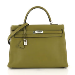 Hermes Kelly Handbag Green Clemence with Palladium Hardware green 4101016