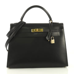 Hermes Kelly Handbag Black Box Calf with Gold Hardware 32 4101017