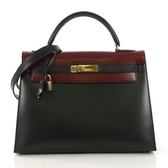 Hermes Kelly Handbag Tricolor Box with Gold Hardware 32 - Rebag
