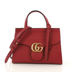 Gucci GG Marmont Top Handle Bag Leather Mini Red 4101032