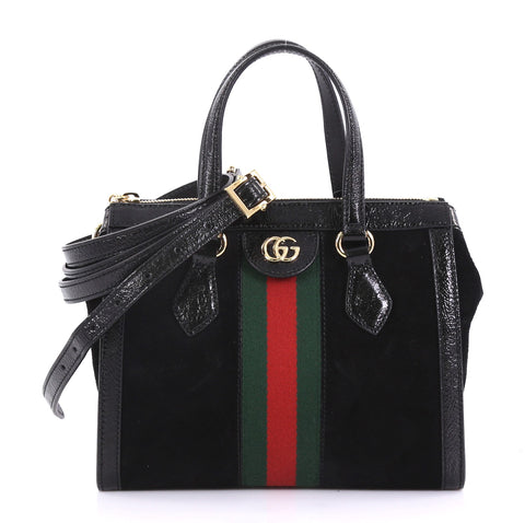 4827611e6b7 Gucci Ophidia Top Handle Bag Suede Small Black 4101037 – Rebag