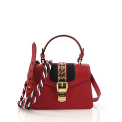 Gucci Sylvie Top Handle Bag Leather Mini Red 4101038