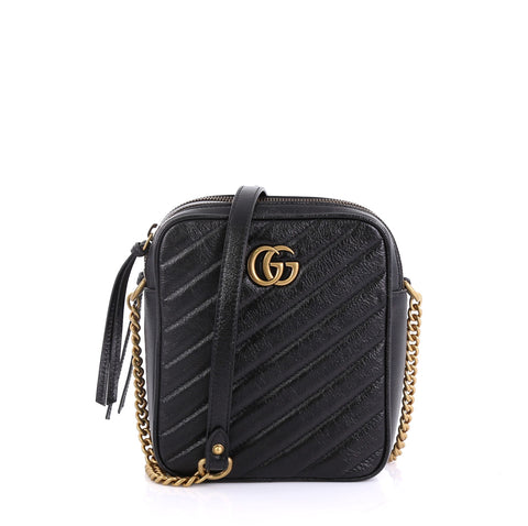 6853e991ddfea9 Gucci GG Marmont Double Zip Camera Bag Matelasse Leather 4101039 – Rebag