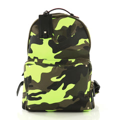Valentino Camouflage Backpack Nylon and Leather Large Green 4101044