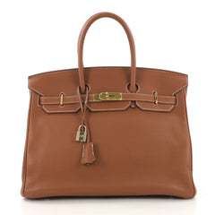 Hermes Birkin Handbag Brown Clemence with Gold Hardware 35 - Rebag