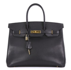 Hermes Birkin Handbag Black Ardennes with Gold Hardware 35 - Rebag