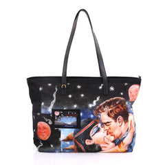 Prada Impossible True Love Tote Printed Tessuto Large Black 4101064