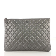 Chanel O Case Clutch Quilted Lambskin Large Gray 4101067