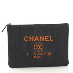Chanel Deauville Pouch Denim Medium Blue 4101069