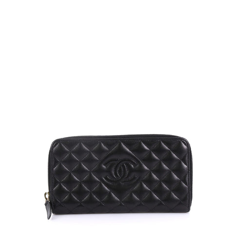 f5cfc56c209e Chanel Diamond CC Zip Wallet Quilted Calfskin Long Black 4101080 – Rebag