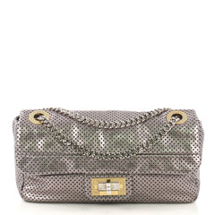 Chanel Drill Flap Bag Perforated Leather Medium Silver 4101088