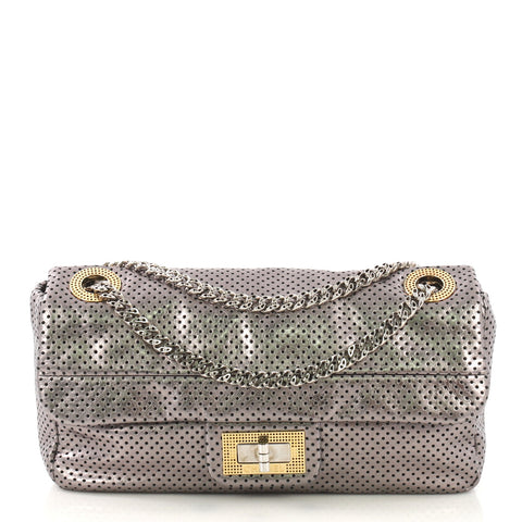 d81f2b4685b05c Chanel Drill Flap Bag Perforated Leather Medium Silver 4101088 – Rebag