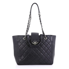 Chanel CC Box Shopping Tote Quilted Caviar Small Black 4101098