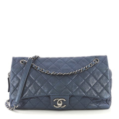 Chanel Easy Flap Bag Quilted Caviar Jumbo Blue 410122
