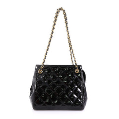 Chanel Vintage Chain Tote Quilted Patent Small Black 4103029