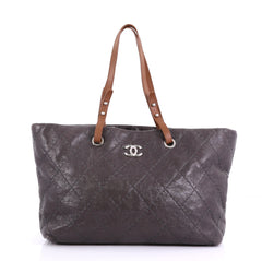 Chanel On The Road Tote Quilted Leather Small Gray 410305