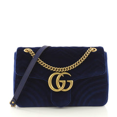 Gucci GG Marmont Flap Bag Matelasse Velvet Medium Blue 410322
