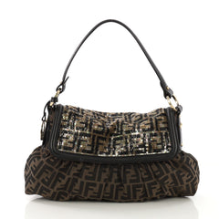 Fendi Chef Flap Bag Zucca Canvas with Sequins Medium Brown 410421