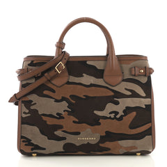 Burberry Banner Convertible Tote Camouflage Suede Medium Brown 4104221