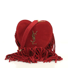 Saint Laurent Fringe Love Heart Chain Bag Suede Small Red 4104512