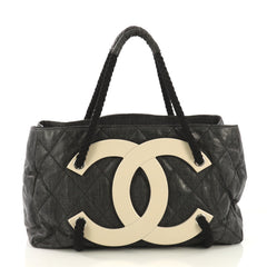291ab905d0cd Chanel Model  CC Beach Tote Quilted Coated Canvas Large Black 41045 7