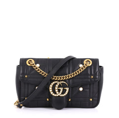 Gucci Pearly GG Marmont Flap Bag Embellished Matelasse 410701