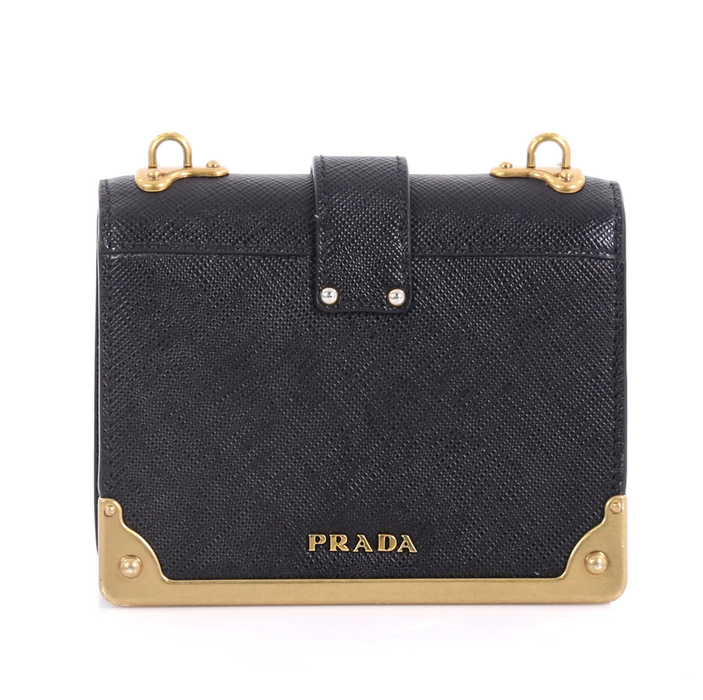 9382eed1c56a7e Prada Cahier Crossbody Bag Embellished Leather Micro Black 410703 ...