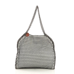 Stella McCartney Falabella Tote Mesh and Faux Patent Small White 410811
