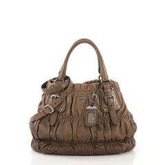 Prada Gaufre Convertible Tote Nappa Leather Medium Brown 410831