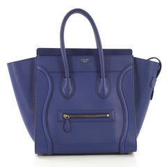 Celine Luggage Handbag Grainy Leather Mini Blue 410842