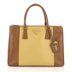 Prada Bicolor Double Zip Lux Tote Saffiano Leather Medium 410896