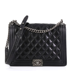 Chanel Model: Double Stitch Boy Flap Bag Quilted Calfskin Large Black 41092/1