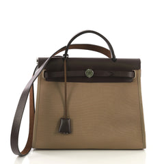 Hermes Herbag Zip Leather and Toile 31 Brown 410972